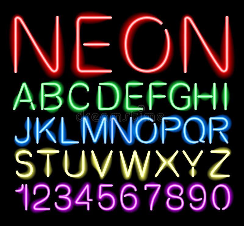 Неоновое свето шрифта иллюстрация вектора