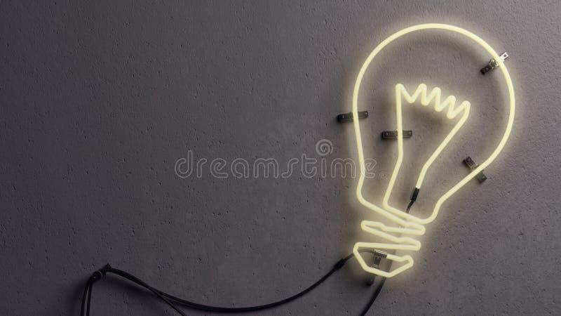 Неоновое свето электрической лампочки форменное иллюстрация штока