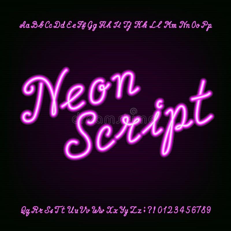 Неоновой шрифт алфавита сценария нарисованный рукой бесплатная иллюстрация