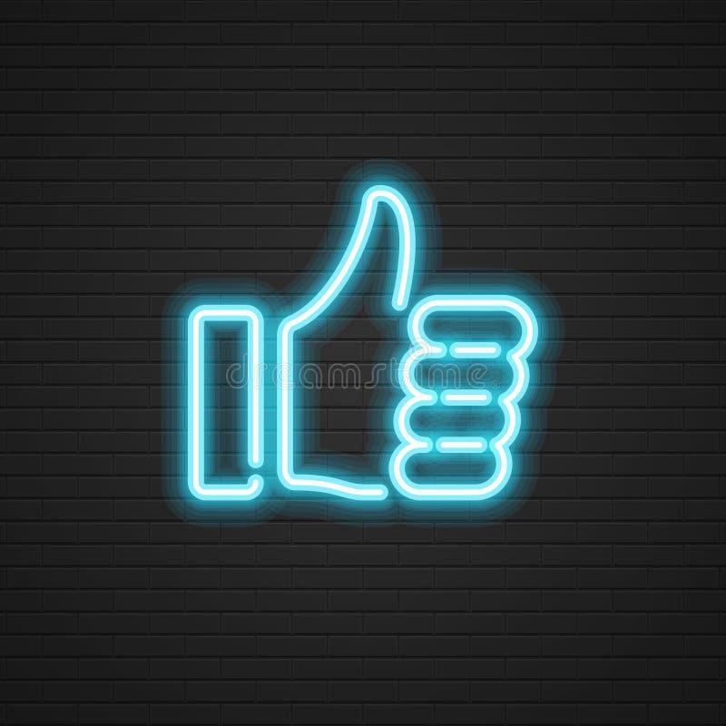 Неоновые большие пальцы руки поднимают руку значка вектора, социальный символ средств массовой информации бесплатная иллюстрация