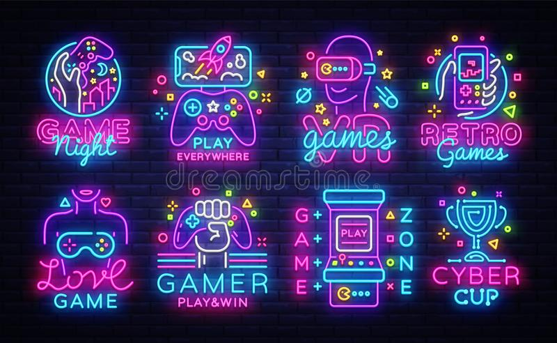 Неоновые вывески большого вектора логотипов видеоигр собрания схематические Эмблемы видеоигр конструируют шаблон, современный диз иллюстрация вектора