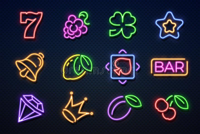 Неоновые знаки казино Машина азартных игр слота, игральные карты, вишня и сердца, машина джэкпота игры Неон казино вектора иллюстрация вектора