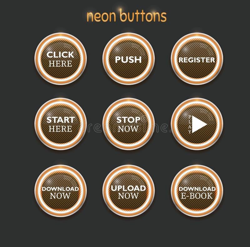 Неоновые кнопки dowload иллюстрация штока