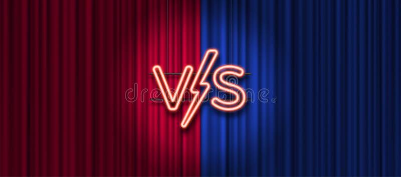 Неоновые письма против логотипа на красной и голубой предпосылке занавеса ПРОТИВ логотипа для игр, сражение, представление, спичк бесплатная иллюстрация