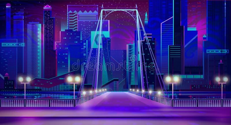 Неоновые света города ночи, вход моста, набережная, лампы иллюстрация штока