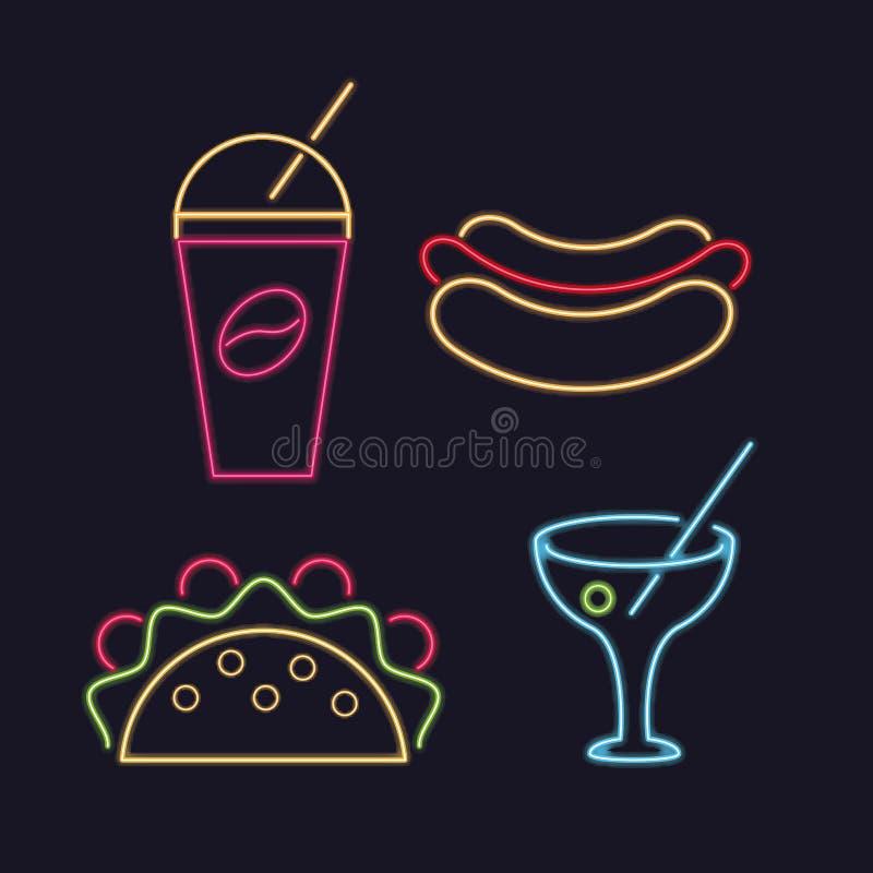 Неоновые света значков еды иллюстрация штока