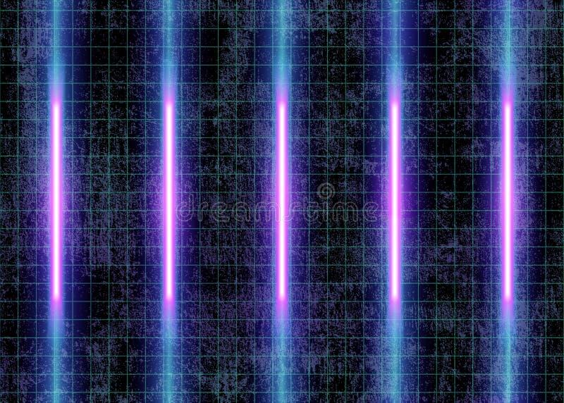 Неоновые света и измерительные линии на стене стоковое фото