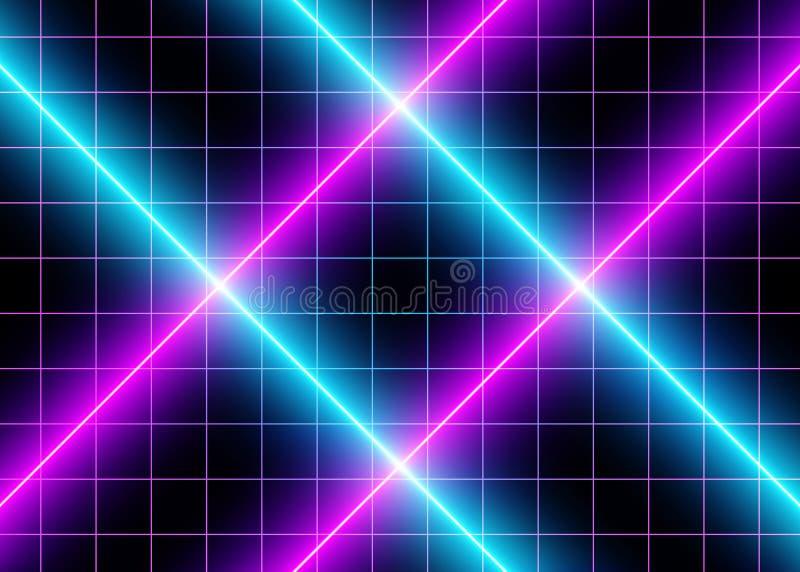 неоновые света сини виртуального пространства 3D и фиолетовых стоковое изображение rf
