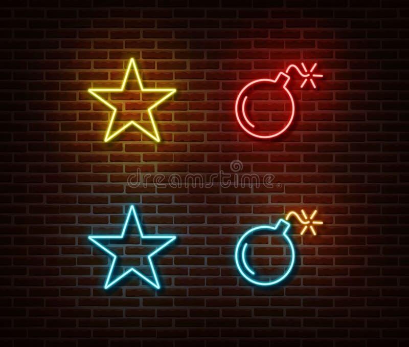 Неоновый вектор знаков звезды и бомбы изолированный на кирпичной стене Символ света звезды, влияние украшения Неоновый я иллюстрация вектора