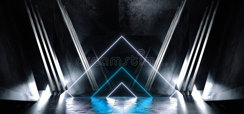 Неоновый голубой белый накаляя треугольника конспекта космического корабля Sci Fi треугольника Grunge бетона металла футуристичес иллюстрация штока