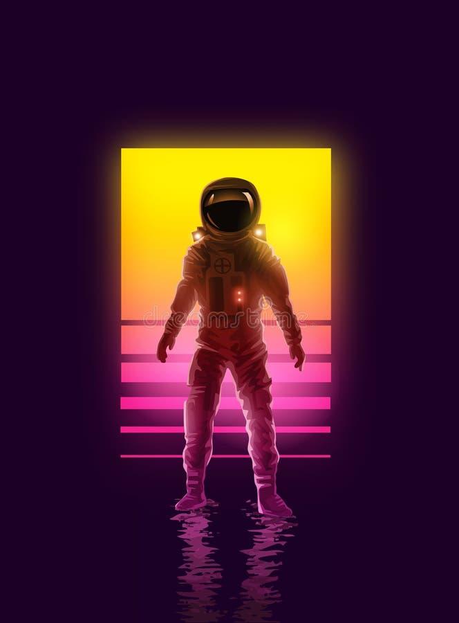 Неоновый дизайн предпосылки космонавта астронавта бесплатная иллюстрация