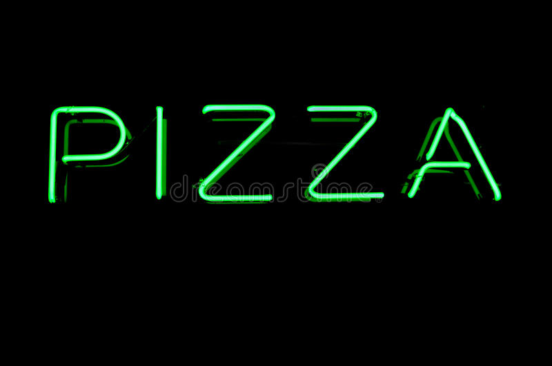 неоновый знак пиццы стоковые фотографии rf