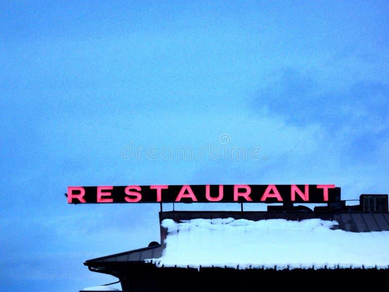 Неоновый знак ресторана стоковое изображение rf