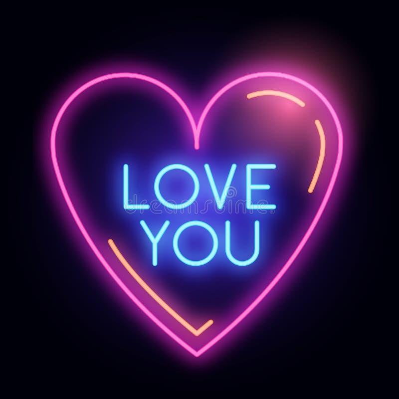 Неоновый накаляя знак света сердца влюбленности иллюстрация штока