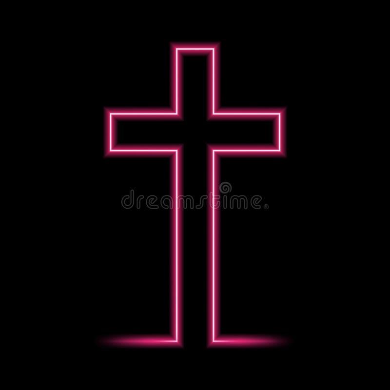 Неоновый накаляя христианский крест r иллюстрация вектора