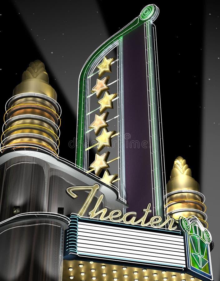 неоновый ретро театр бесплатная иллюстрация