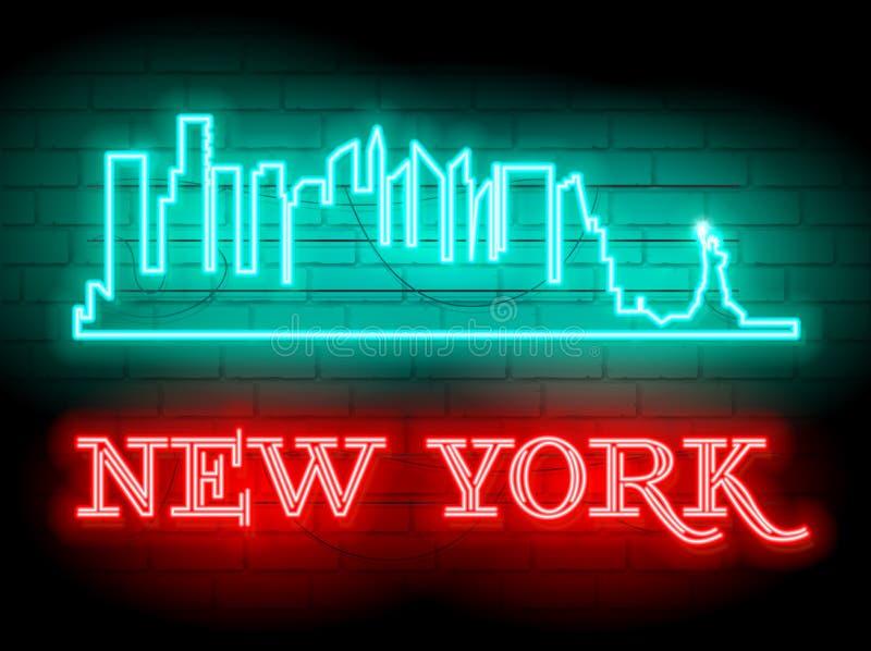 Неоновый силуэт предпосылки вектора горизонта города Нью-Йорка Соединенных Штатов Неоновая иллюстрация знака стиля Иллюстрация дл бесплатная иллюстрация