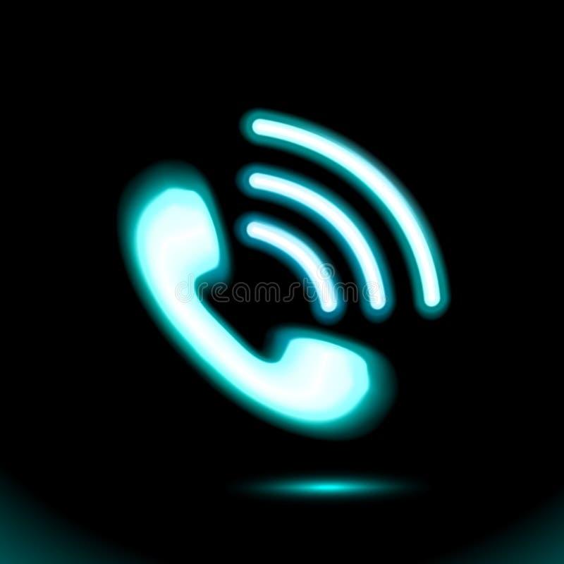 Неоновый телефон, голубой вектор значка телефонной трубки Иллюстрация вектора пиктограммы Дневной дизайн изолированный на черной  иллюстрация вектора