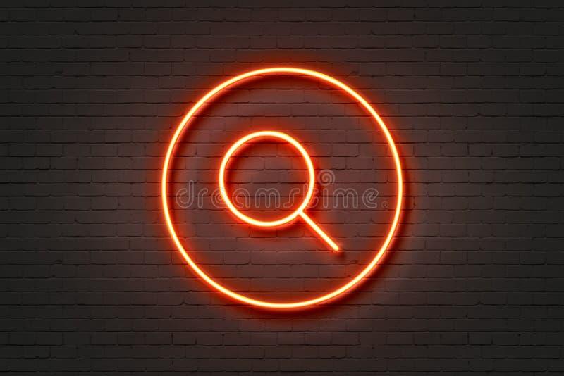 Неоновый увеличивать значка красного света стоковое изображение rf