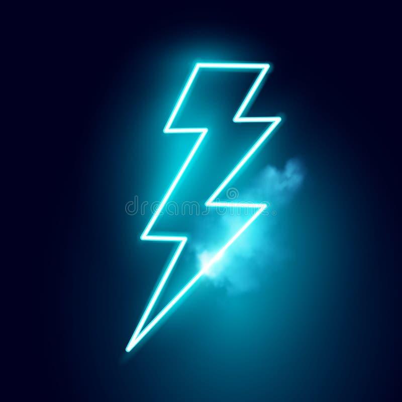 Неоновый электрический вектор удара молнии иллюстрация вектора