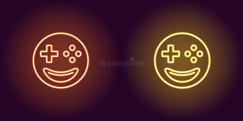Неоновый gamer emoji, накаляя знак Значок emoji вектора иллюстрация штока