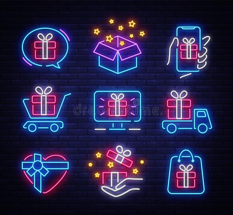 Неон значка подарков установленный r Объекты кухни бонуса Светлое знамя, неоновые вывески собрания для иллюстрация вектора
