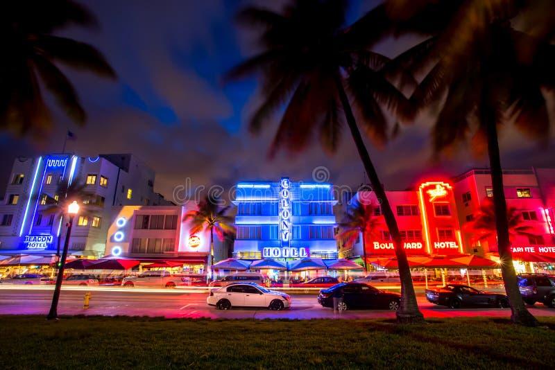 Неон ночи пляжа Майами южный стоковое фото rf