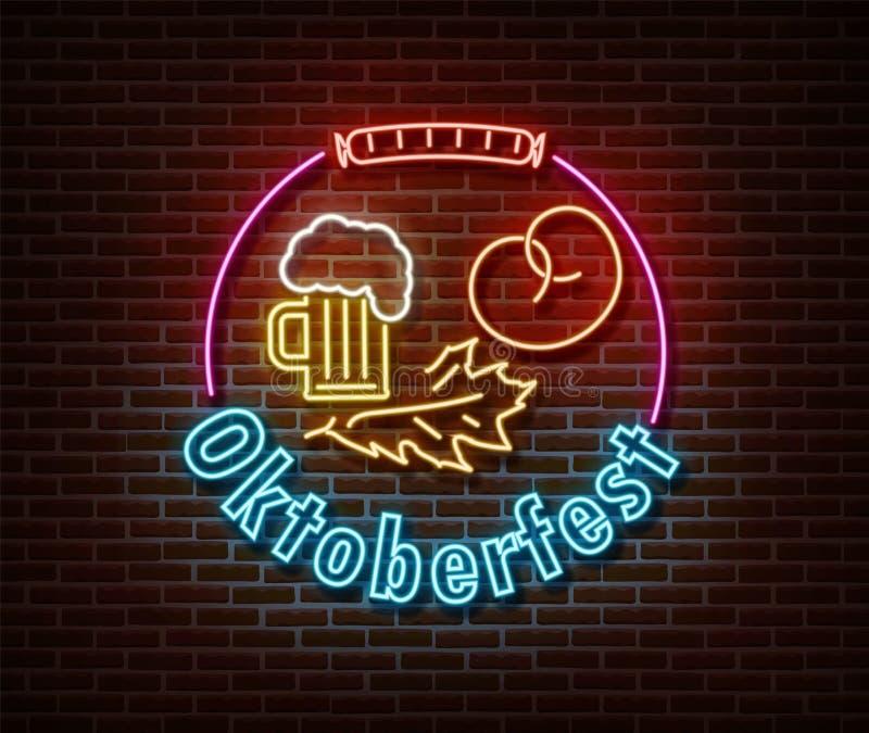 Неон Октоберфест векторные знаки изолированы на кирпичной стене Фестиваль Германии: световой символ праздника, эффект оформления  иллюстрация штока