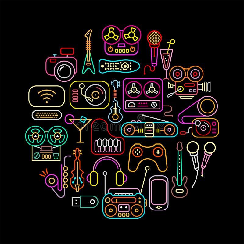 Неон домашней электроники иллюстрация штока