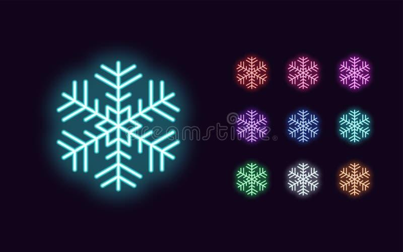 Неон Снежинки, украшения Рождества и Нового года бесплатная иллюстрация