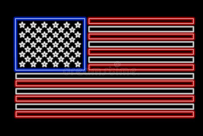 неон США флага иллюстрация вектора