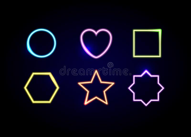 Неон формирует рамки Накаляя символы круга, сердца, квадрата, шестиугольника, звезды и полигона иллюстрация вектора