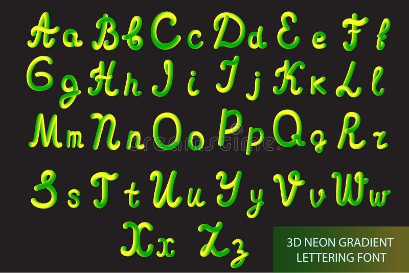 Неон 3D Typeset с округленными формами Литерность трубки нарисованная вручную Комплект шрифта покрашенных писем Влияние или жидко бесплатная иллюстрация