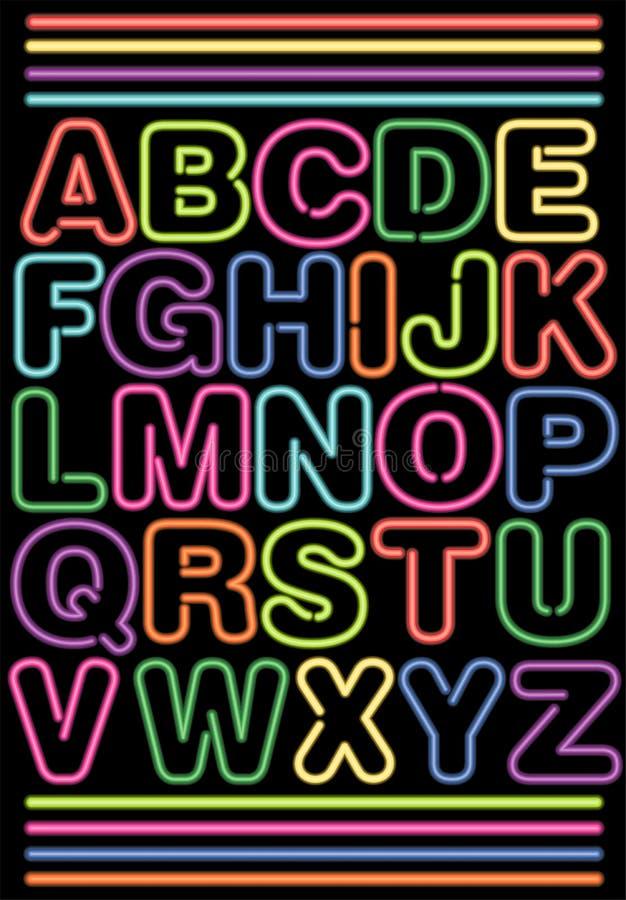 неон eps алфавита иллюстрация вектора