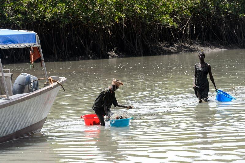 Неопознанные местные женщины стоят в воде с тазами в VI стоковое изображение rf