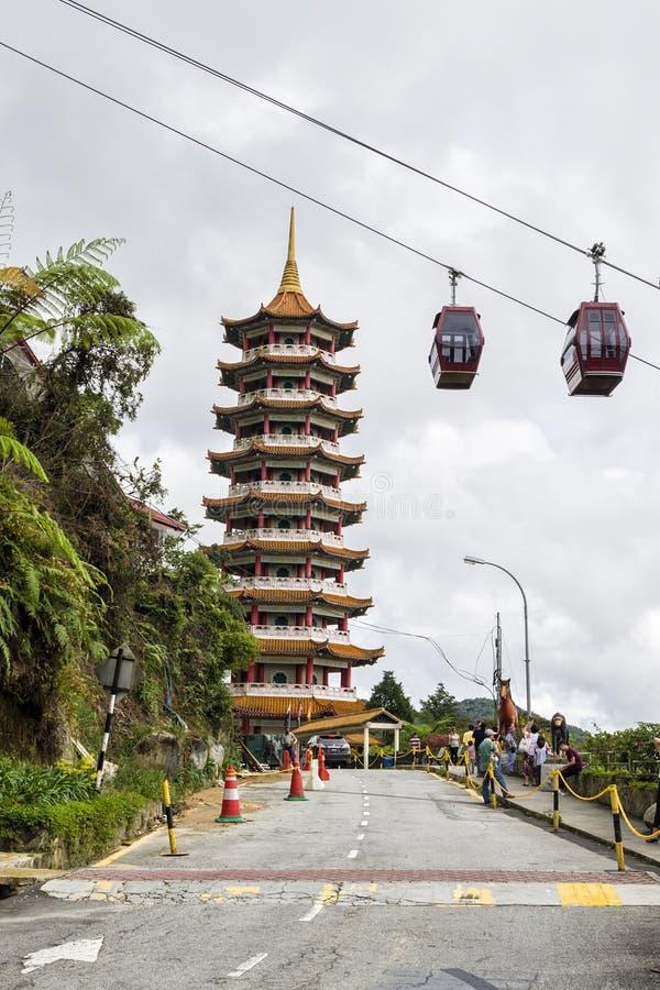 Неопознанные туристы посещая сценарное место Chin Swee выдалбливают висок, гористую местность Genting, Малайзию стоковое изображение