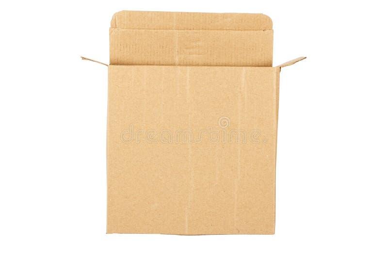 Неотмеченная картонная коробка, модель-макет представленный на белой предпосылке стоковое фото