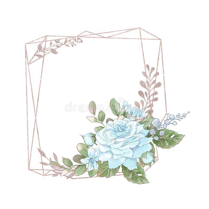 Нео-винтажный золотой геометрический кадр с красивым букетом роз стоковая фотография