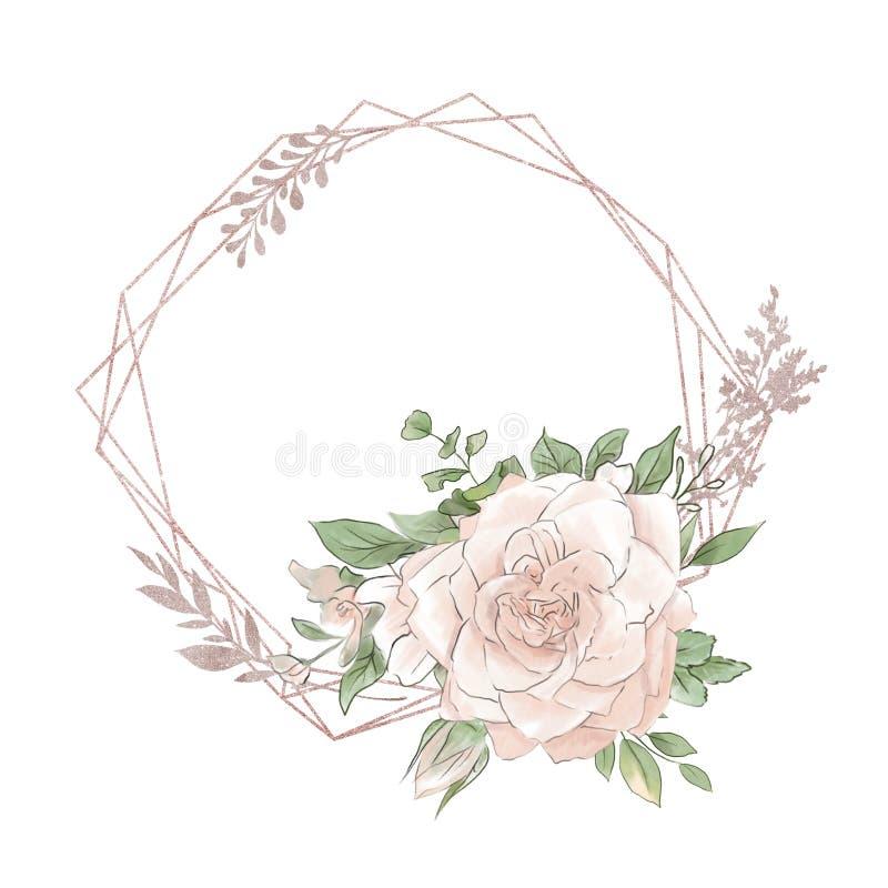 Нео-винтажный золотой геометрический кадр с красивым букетом роз стоковая фотография rf