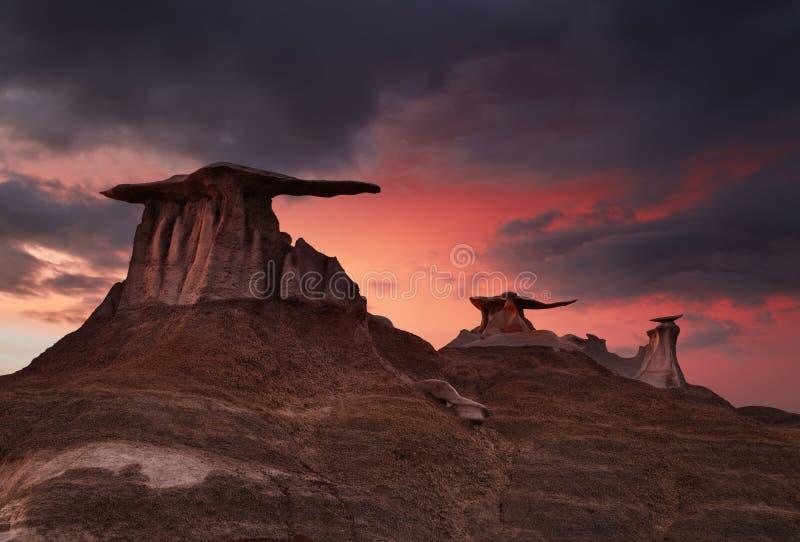 Неплодородные почвы Bisti, Неш-Мексико, США стоковые фотографии rf