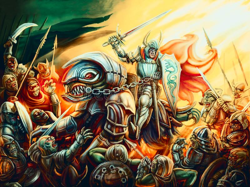 Непобеждённый рыцарь защищает мир от посыльных ада бесплатная иллюстрация