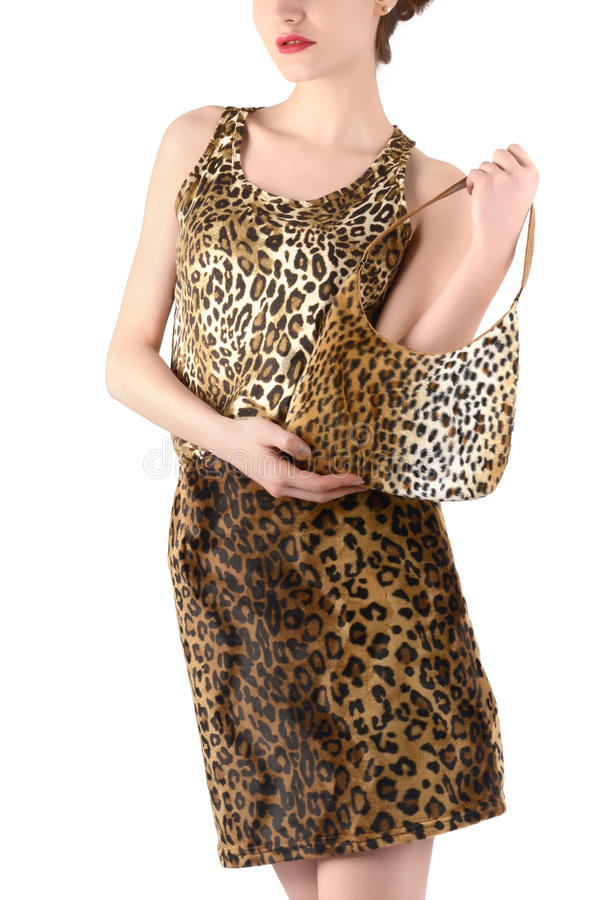 Непознаваемая женщина одела в животной юбке и блузке печати, держа сумку. стоковое фото
