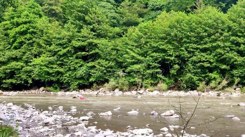 Непознаваемая женщина пересекая брод реки горы стоковое изображение