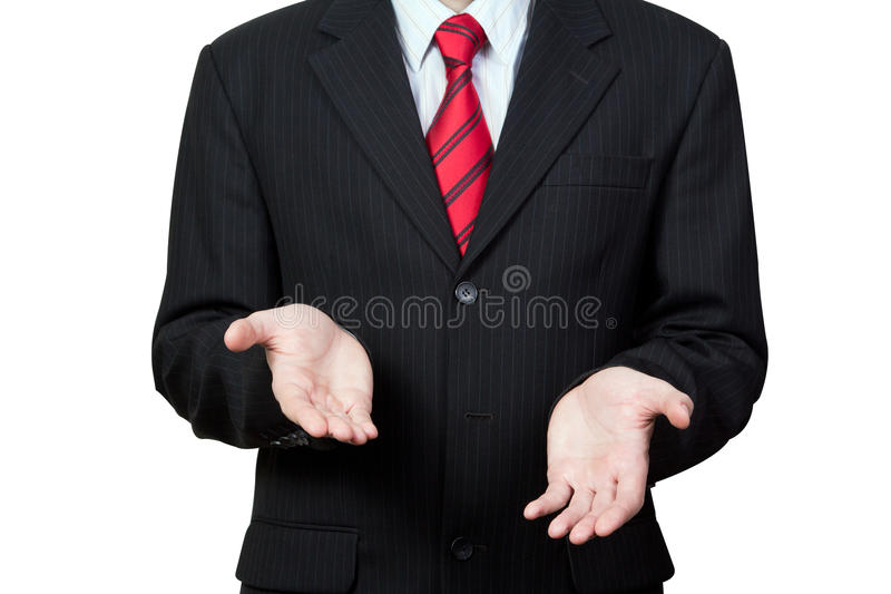 Непознаваемый бизнесмен при пустые руки изолированные на белизне стоковая фотография