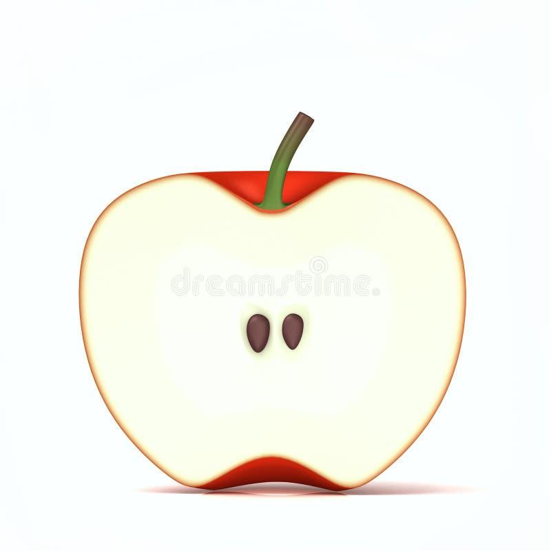 Неполная вырубка красного яблока стоковая фотография rf