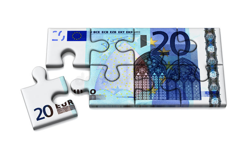 головоломка евро 20, 3d иллюстрация вектора