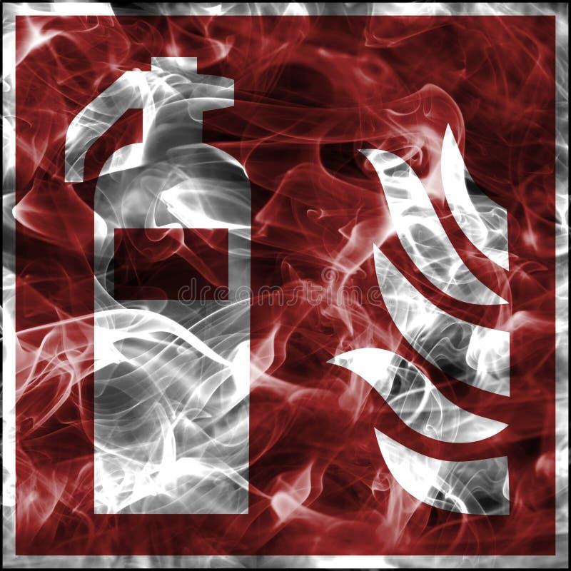 Непредвиденные символы дыма для противопожарного инвентаря Стандартный знак пожарной безопасности для огнетушителя иллюстрация вектора