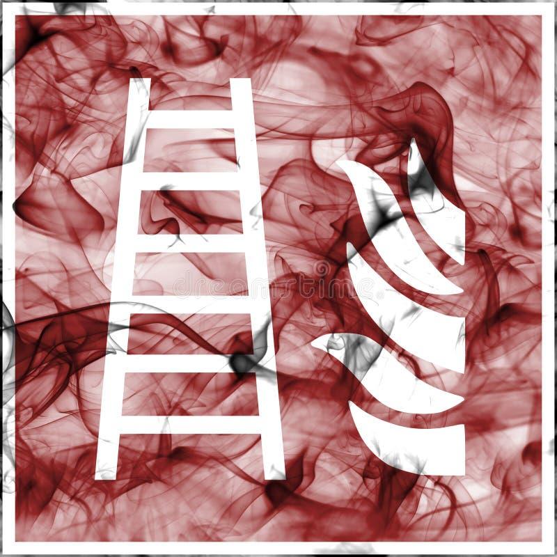 Непредвиденные символы дыма для противопожарного инвентаря Стандартный знак пожарной безопасности для лестницы огня иллюстрация штока