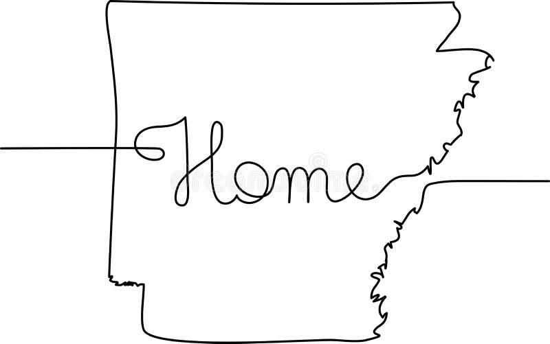 Непрерывная линия чертеж Арканзаса иллюстрация штока