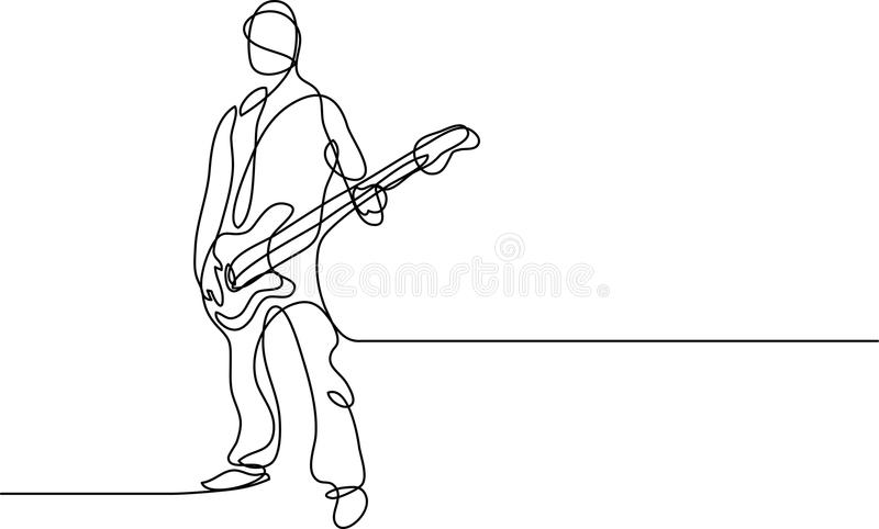 Непрерывная линия чертеж бас-гитариста бесплатная иллюстрация